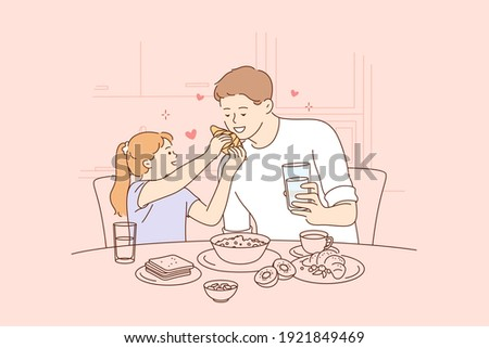 Happy Fathers day, spending time with children concept. Smiling happy young man father and his small daughter sitting and having breakfast together at home in kitchen illustration