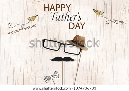 Happy Fathers Day template greeting card. You are the Best Dad. I love you. Fathers day Banner, flyer, invitation, congratulation or poster design. Father's day concept. Vector illustration.