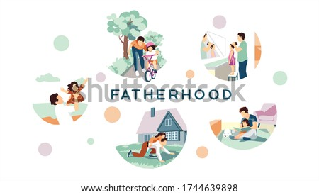Happy fathers day. The best dad in the world. A gift for father. Different stages of fatherhood set. He teaches his children to read, ride a bicycle, plays different games with his daughter. Vector  Foto d'archivio ©