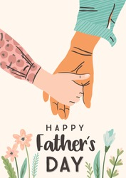Happy Fathers Day. Vector illustration. Man holds the hand of child. Design element for card, poster, banner, flyer and other use.