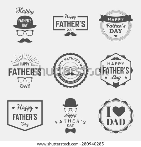 happy fathers day vintage labels set. vector illustration
