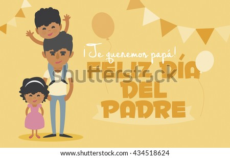 Happy Fathers day yellow card. Vector Element Set. We love you Dad! Happy Father\'s Day, written in Spanish