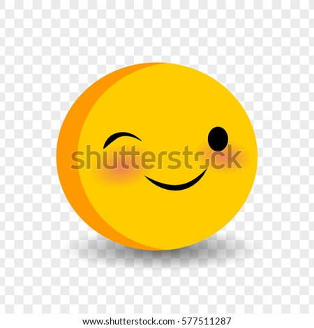 Happy feelings, expression for message, sms. Cute funny smile wink face. Vector illustration smile icon. Face emoji yellow icon. Smile cute funny emotion face on transparent background.