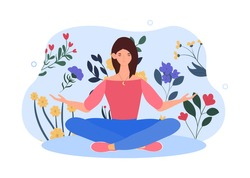 Happy female character is sitting in lotus pose with arms opened. Concept of creating good vibe around people. Young woman is enjoing her freedom and life. Flat cartoon vector illustration