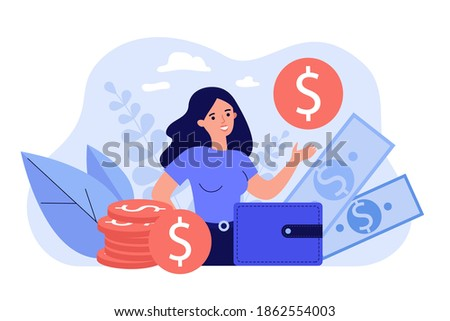 Happy female entrepreneur surrounded money and showing gold coin isolated flat vector illustration. Cartoon bank consumer refinancing loan. Personal financial target and business concept