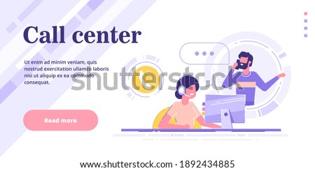 Happy female helpline operator with headset consulting a client. Customer service hotline web banner or landing page. Global technical support 24 7. Consultant and customer. Vector banner. Stock photo ©