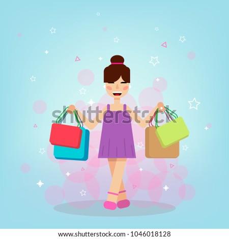 Happy flat girl shopping #1046018128