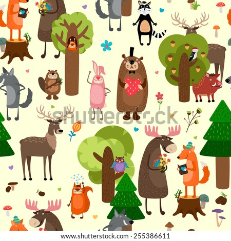 happy forest animals seamless