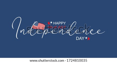 Happy Fourth july holiday in USA. American Independence Day greeting card, banner, poster with United States flag, stars and stripes. Patriotic calligraphy on blue background. Vector illustration