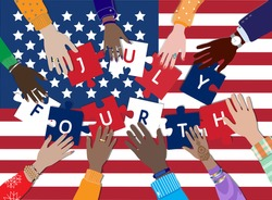 Happy Fourth of July, United States of America Independence Day celebrating vector banner. Diverse skin colors american people hands jigsaw puzzle pieces together top view, USA flag. Freedom, equality