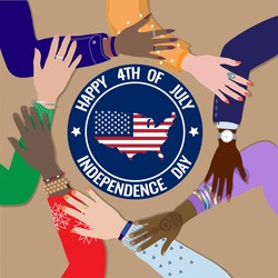 Happy Fourth of July, United States of America Independence Day celebrating vector banner. Diverse skin colors american people hands together, top view, USA map, flag. Freedom, equality, patriotism.