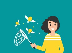 Happy freelancer girl with butterfly net and flying idea bulbs. flat vector illustration on blue.  Catch, hunt, chase ideas and solutions. Inspiration search concept.  creative, innovation, training.
