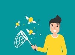 Happy freelancer man with butterfly net and flying idea bulbs. flat vector illustration on blue.  Catch, hunt, chase ideas and solutions. Inspiration search concept.  creative, innovation, training.