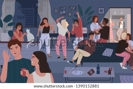 Happy friends at home party. Apartment or living room full of people having fun, dancing and talking. Young cute men and women spending time together at night. Flat cartoon vector illustration.