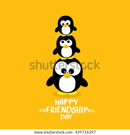 Happy Friends Day Background With Funny Cartoon Penguins Kids