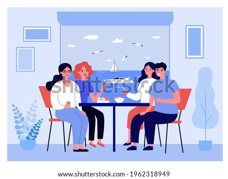 Happy friends on vacation having meal together. Couples chatting at table, motor boat outside window flat vector illustration. Holiday, voyage concept for banner, website design or landing web page Foto stock ©