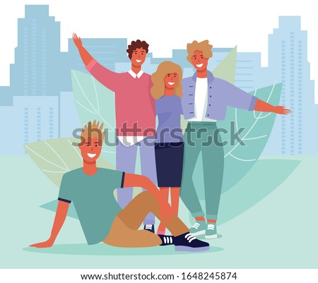 Happy Friends Portrait over Cityscape Illustration. Flat Vector Photo with Smiling Teenage Guys and Girls Group Hugging Together. Friendship and Relationship. Cartoon Young People Characters