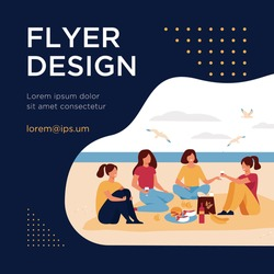 Happy friends sitting on beach, eating and drinking wine. Group of young people meeting for picnic and having lunch by sea. Vector illustration for summer party, having fun, friendship concepts