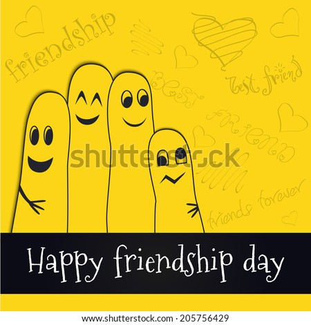 Happy Friendship Day background with doodle.