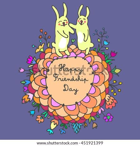 Happy Friendship Day cute cartoon hand drawn illustration with rabbits