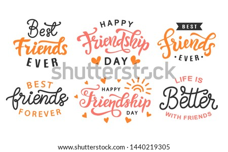 Happy Friendship Day cute hand lettering big set. Best friends forever. Greeting card typography template. Modern calligraphy design elements for poster, tee shirt print. Vector illustration.