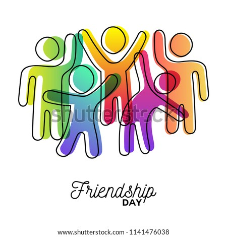 Happy Friendship Day greeting card. Colorful diverse friend group dancing for special event celebration in simple stick figure art style with vibrant colors. EPS10 vector.