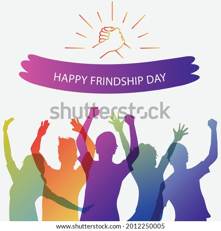 Happy friendship day greeting card, web banner with diverse friend group of people. Friendship Day greeting card, happy holiday of amity. International Day of Friendship illustration clip art vector.