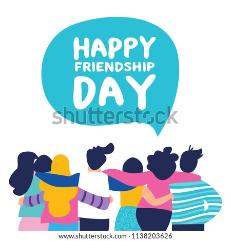 Happy friendship day greeting card with diverse friend group of people hugging together for special event celebration. EPS10 vector.