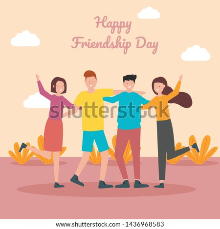 Happy friendship day greeting card with diverse friend group of people hugging together for special event celebration
