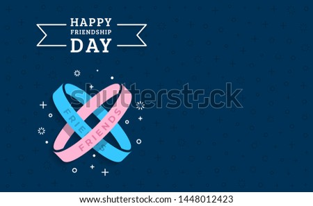 Happy friendship day greeting card with with two bracelets symbolizing friendship and a place to place text greetings, invitations, information. Vector illustration in flat style