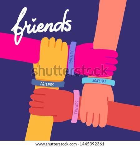 Happy friendship day illustration. Colorful four hands crossed together on dark blue background.Vector illustration of friendship with lettering text Friends.Holiday of togetherness, unity,having fun.