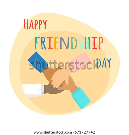 Happy friendship day illustration. Kids hands crossed together on yellow background. Vector illustration of international friendship. Holiday of togetherness, unity and having fun with friends.