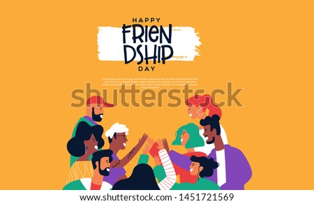Happy friendship day landing web page template with diverse friend group of people doing high five together. Young generation on social event holiday.