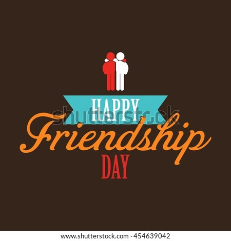 Happy Friendship day ribbon banner with couple