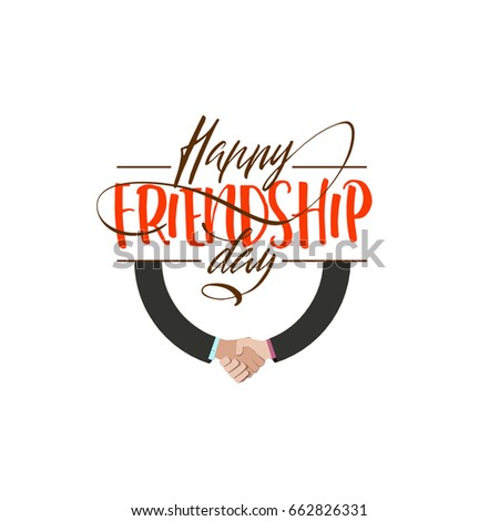 Happy Friendship day. Vector typographic colorful design. Badges for your holiday design postcards, posters.