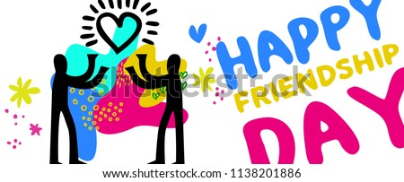 Happy Friendship day web banner illustration for friend holiday. Hand drawn people holding heart, friends love concept. EPS10 vector.