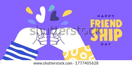 Happy friendship day web banner illustration of two friend hands doing fist bump hand gesture. Friends relationship holiday event design.
