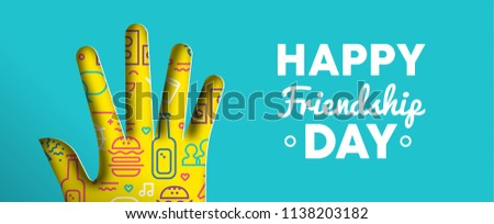 Happy Friendship Day web banner illustration. Paper cut hand shape with colorful outline style social party icons. EPS10 vector.