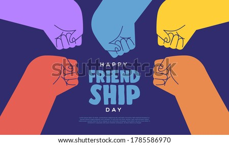 Happy friendship day web template illustration of colorful diverse friend group doing fist bump hand gesture for relationship celebration event. Stockfoto ©