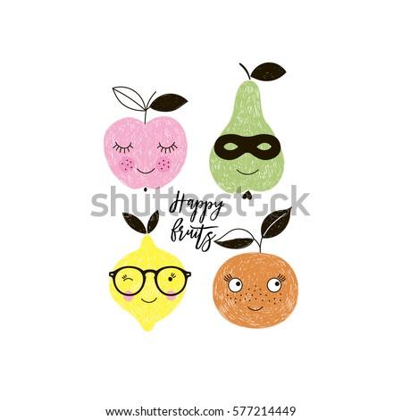 happy fruits, apple, pear, lemon, orange, doodle illustration for kids