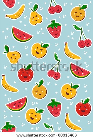 Happy fruits pattern. Vector illustration background.