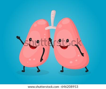 happy fun cute lungs vector