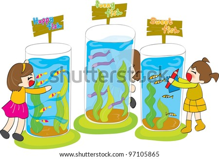 Happy, Funny and Sweet Fish Farm - with Cute Smiling Young Children on white background