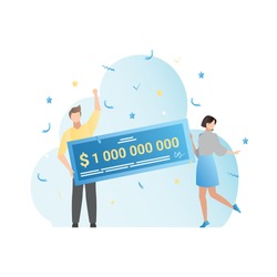 Happy, funny, lucky people won lottery, got check for money,  million. Hit casino jackpot. Vector blue illustration of winners.