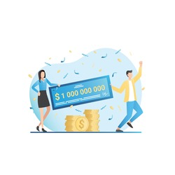 Happy, funny, lucky, rich people jump in confetti with big winning lottery ticket, get check for gold money, coins, cash, million. Friends hit jackpot at casino. Successful winners of quiz.