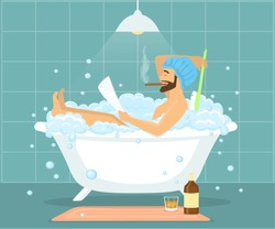 Happy funny man guy taking bath in bubble vintage bathtub, relaxing, reading newspaper, smoking cigar and drinking whiskey