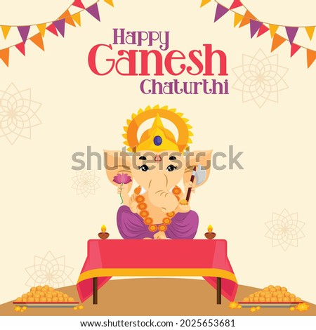 Happy Ganesh Chaturthi Indian festival banner design template.