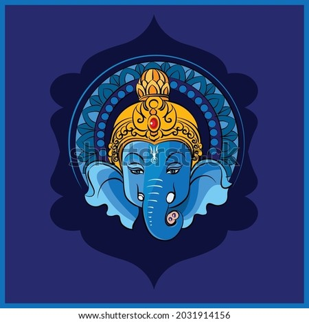 Happy Ganesh Chaturthi lord Ganesha in blue color with traditional Indian design color background.