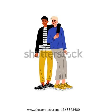Happy Gay Interracial Male Couple, Hugging Men, Romantic Homosexual Relationship Vector Illustration