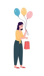 Happy gift giving caucasian woman flat color vector detailed character. Happy girl with balloons and bag. Surprise Birthday present isolated cartoon illustration for web graphic design and animation